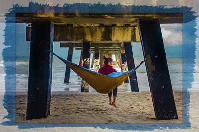 Photograph - Island Dreams Under The Pier Painting by Debra and Dave Vanderlaan