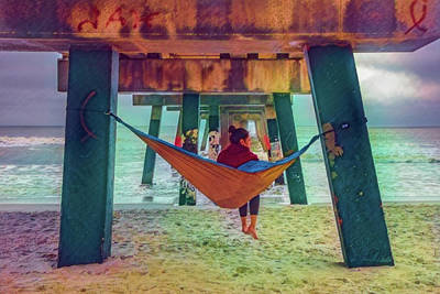 Photograph - Island Dreams Under The Pier Watercolors Painting by Debra and Dave Vanderlaan