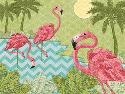 Flamingoes Painting - Island Flamingo - Horizontal by Paul Brent