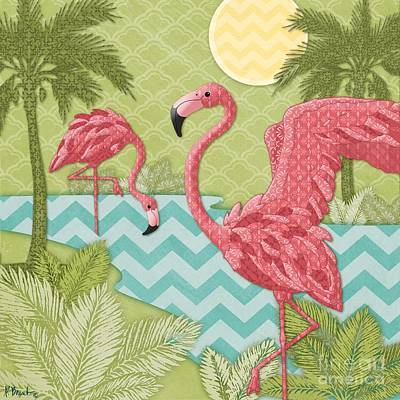 Flamingos Painting - Island Flamingo II by Paul Brent