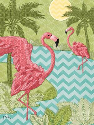 Flamingoes Painting - Island Flamingo - Vertical by Paul Brent