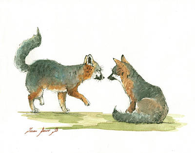 Catalina Island Painting - Island Foxes by Juan Bosco