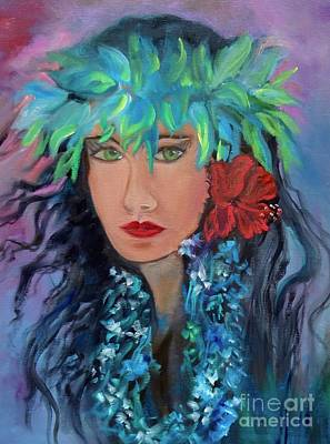 Painting - Island Girl, Hula V by Jenny Lee