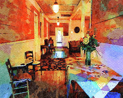 Digital Art - Island Hotel Cedar Key Fl - Interior by Rebecca Korpita