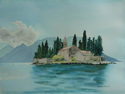 Wall Art - Painting - Island In The Med by Sonia Mocnik