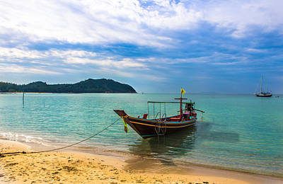 Vintage Uk Posters - Island Koh Phangang with boat in the water by Nomadic Ninja Negativs