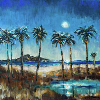 Painting - Island Lagoon At Night by Linda Olsen