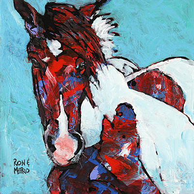 Pinto Horse Painting - Island Paint by Ron and Metro