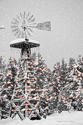 Island Park Idaho - Lakeside Lighted Windmill Art Print by Image Takers Photography LLC - Carol Haddon and Laura Morgan