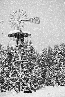Island Park Idaho - Windmill In The Snow Art Print by Image Takers Photography LLC - Carol Haddon and Laura Morgan