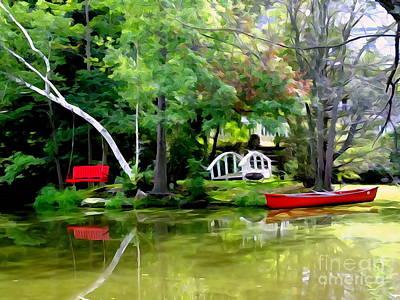 Rowboat Digital Art - Island Retreat by Ed Weidman