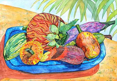 Wooden Bowls Drawing - Island Style Wooden Fruit by Caroline Street