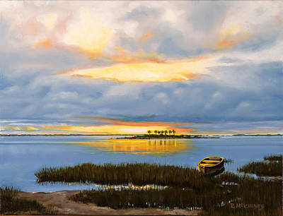 Seacape Painting - Island Sunset by Rick McKinney