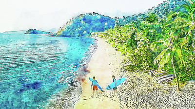 Digital Art - Island Surfers by Ruth Moratz