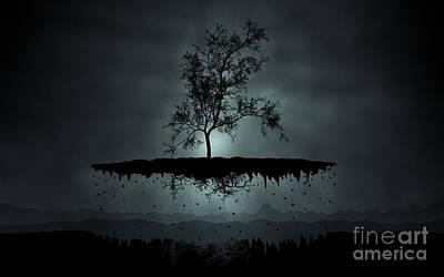 Island Tree Shadow Silhouette Art Print