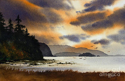 Art Print featuring the painting Islands Autumn Sky by James Williamson