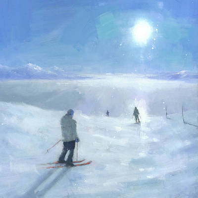 Ski Painting - Islands In The Cloud by Steve Mitchell