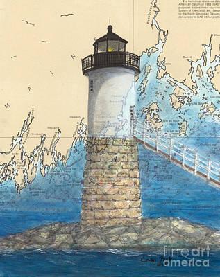 Isle Au Haut Lighthouse Me Nautical Map  Print by Cathy Peek