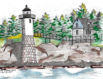Drawing - Isle Au Haut Lighthouse by Paul Meinerth