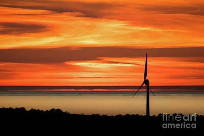 North Wales Digital Art - Isle Of Anglesey Windmill Sunset Over Irish Sea by Jason Jones