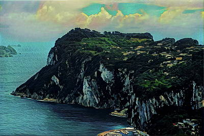 Watercolor Painting - Isle Of Capri Italy by Russ Harris