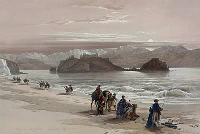 Painting - Isle Of Graia Gulf Of Akabah Arabia Petraea by David Roberts