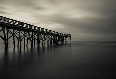 Photograph - Isle Of Palms Pier Black And White by Donnie Whitaker
