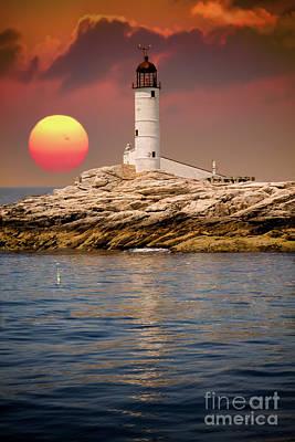 Isles Of Shoals Lighthouse At Sunset Art Print