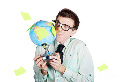 Isolated Businessman Holding World Globe Art Print