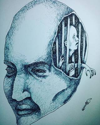 Bipolar Drawing - Isolated By You by Julius Anasca