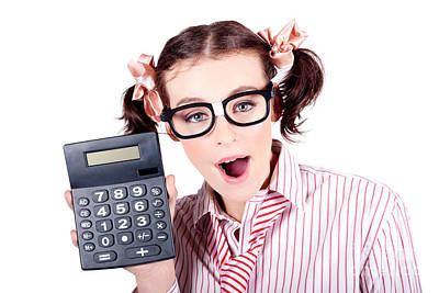 Goofy Photograph - Isolated Finance Business Woman Holding Calculator by Jorgo Photography - Wall Art Gallery