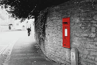 Photograph - Isolated Red Post Office Box Built In A Wall by Jacek Wojnarowski
