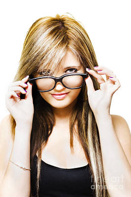 Photograph - Isolated Sexy Girl Wearing Glasses On White by Jorgo Photography - Wall Art Gallery