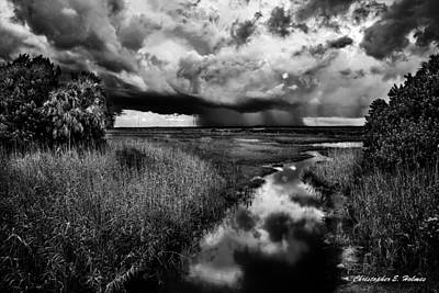 Photograph - Isolated Shower - Bw by Christopher Holmes