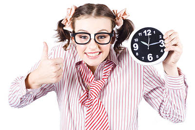 Isolated Young Girl Showing Clock With Thumbs Up Art Print