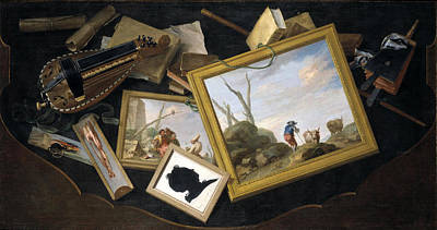 Painting - isordered Table with a trompe l'oeil of Paintings a Hurdy-gurdy Books and other Objects by Charles Joseph Flipart