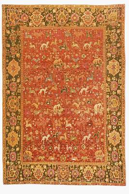 Persian Carpet Drawing - Ispahan Animal Rug From 16th Century by Vintage Design Pics