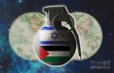 Israel And Palestine Conflict Art Print by George Mattei