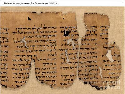 Photograph - Israel Dead Sea Scroll - The Commentary On Habakkuk by Merton Allen