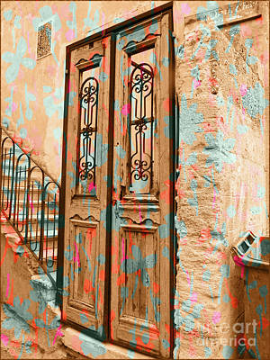 Digital Art - Israel Door Flowers by Donna Munro