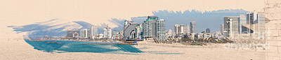Manipulated Digital Photograph - Israel, Tel Aviv Coastline by Humorous Quotes