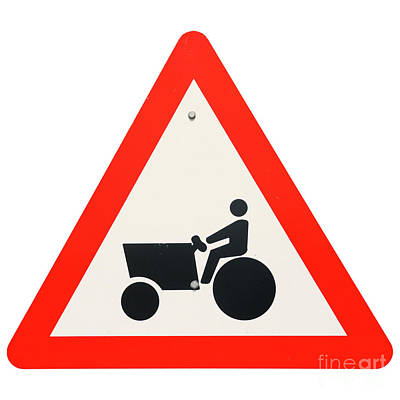Israel, Tractor Caution Sign Art Print by Humorous Quotes