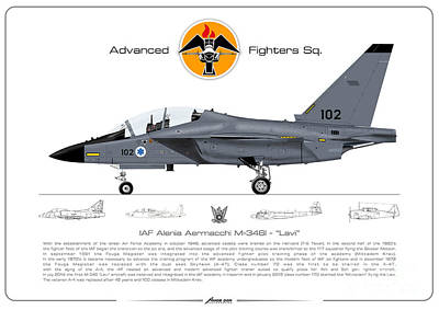 Digital Art - Israeli Air Force Advanced Fighters Sqd. M-346 Lavi  by Amos Dor
