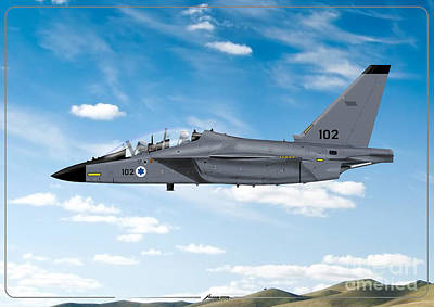 Drawing - Israeli Air Force Airmacchi M-346i Master Lavi In Flight by Amos Dor