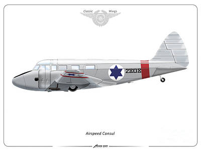 Drawing - Israeli Air Force Airspeed Consul #2808 by Amos Dor
