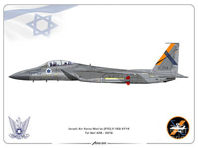 Drawing - Israeli Air Force F-15d - Ftc Sqd. by Amos Dor