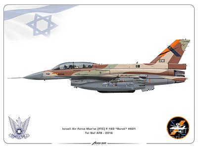 Israeli Air Force F-16d Barak - Ftc Art Print