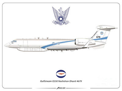 Digital Art - Israeli Air Force Gulfstream G550 #679 by Amos Dor