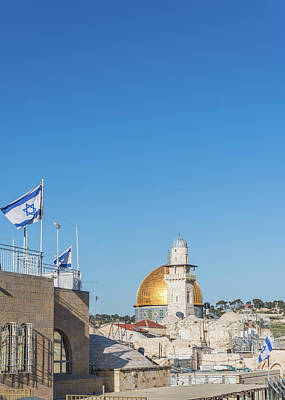 Photograph - Israeli Flag Near The Temple Mount, Jerusalem by Alexandre Rotenberg