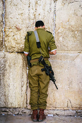 Photograph - Israeli Soldier Praying On The Wailing Wall, Jerusalem by Alexandre Rotenberg
